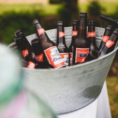 buckets of beers on lawn at wedding reception after wedding ceremony at Hales Hall Norfolk