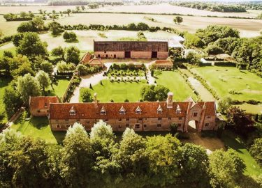 aerial view of Hales Hall and the Great Barn in Norfolk