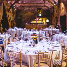 table set up at hales hall great barn wedding Norwich