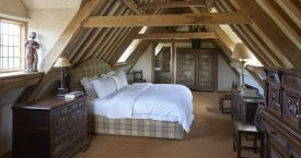 bedroom on 3rd floor in hales hall norfolk for wedding accommodation bride and groom