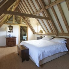 bedroom on top floor at hales hall, ideal for bride and groom on wedding night accommodation