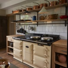 aga in country kitchen at hales hall accommodation for wedding venue