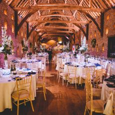 wedding set up in thatched barn in norfolk hales hall