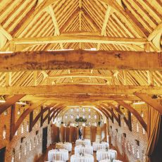 queen post roof at hales hall and the great barn in Loddon on norfolk Suffolk border