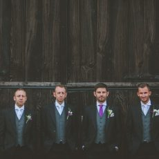 groom and his groomsmen the morning of his wedding
