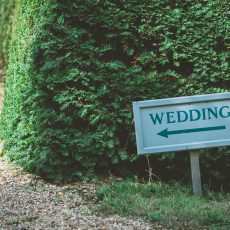 wedding this way sign at hales hall in Suffolk