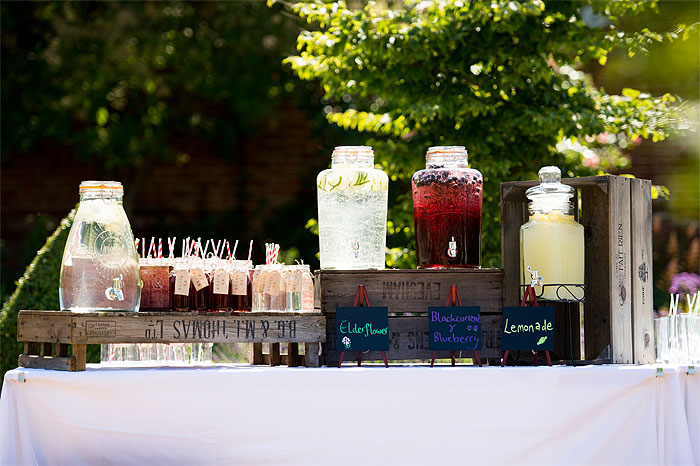 reception drinks on the lawn at a wedding at hales hall Norwich