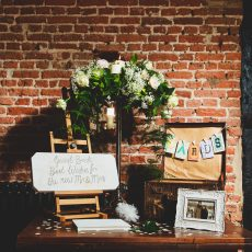 the little details at a wedding reception in the Great Barn at Hales Hall norfolk