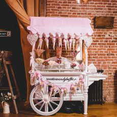 Candy cart at wedding reception at Hales Hall Loddon Norfolk