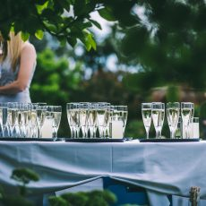 Champagne and prosecco to be served at wedding reception at hales hall & great barn in Loddon norfolk