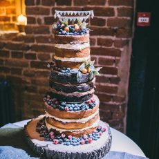 naked wedding cake by Vanilla Patisserie at hales hall & the great barn norfolk for Liann & Tom's wedding