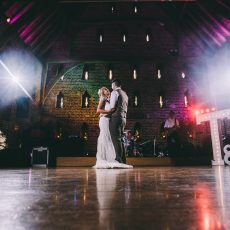 bride and groom at their evening wedding reception at Hales Hall & The Great Barn in Norfolk