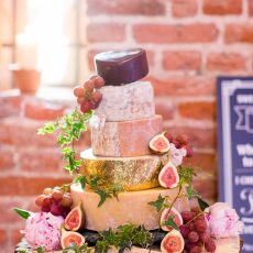 cheese cake tower at wedding reception at hales hall barn. provided by in-house caterers Picnic